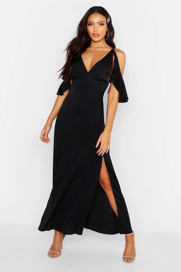 boohoo Woven Plunge Flutter Cold Shoulder Maxi Dress