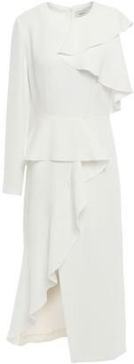 GOEN.J Asymmetric Ruffled Crepe Midi Dress