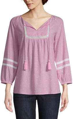 ST. JOHN'S BAY Womens V Neck 3/4 Sleeve Lace Blouse