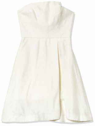 Halston Women's Strapless Jacquard Dress W Patent Lthr Belt