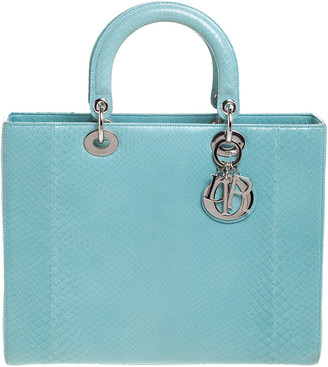 Christian Dior Light Blue Python Large Lady Tote