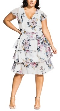 City Chic Trendy Plus Size Summer Love Tiered Fit & Flare Dress