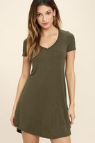 LuLu*s Better Together Olive Green Shirt Dress