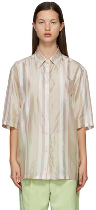 Acne Studios Beige and Red Striped Short Sleeve Shirt
