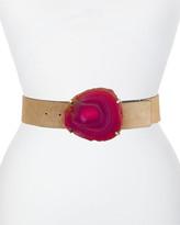 Altuzarra Wide Leather Belt w/ Agate Buckle