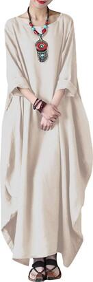 VONDA Women's Boat Neck Batwing Solid Cotton Gown Kaftan Loose Long Maxi Dress Light Blue L