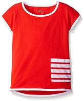 Scout + Ro Little Girls' Jersey Tunic Shirt With Stripe Pocket