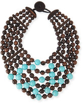 Viktoria Hayman Multi-Row Wood & Turquoise Bead Necklace