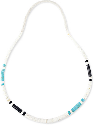 Peyote Bird Turquoise, Jet And Shell Necklace