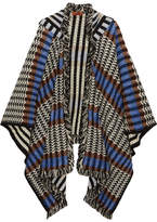 Missoni Fringed Crochet-knit Wool-blend Poncho - Blue
