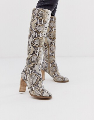 ASOS DESIGN Clover premium leather knee high boots in snake