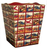 The Well Appointed House Planes, Trains, Boats, Bicycles and Automobiles Decoupage Wastebasket and Optional Tissue Box