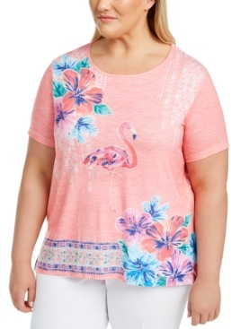 Alfred Dunner Plus Size Miami Beach Printed Embellished Top