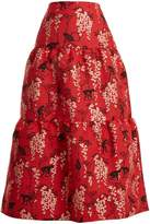 RED Valentino Oriental Monkey-jacquard tiered cotton-blend skirt