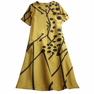 KPILP Women's Summer Floral Print Short Sleeve Casual Loose V Neck Tunic Shirt Dress 2 Colors S-3XL Long Dress Yellow
