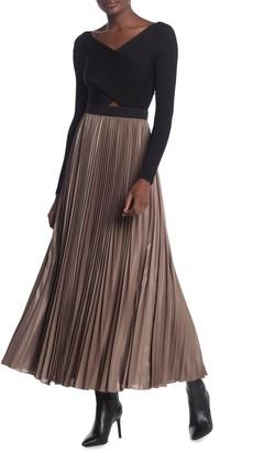 BCBGMAXAZRIA Dallin Sunburst Pleated Maxi Skirt