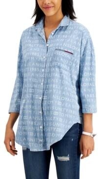 Tommy Jeans Chambray Logo-Print Shirt
