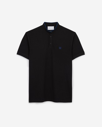 The Kooples RELAXED black jersey polo with officer collar