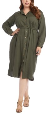Karen Kane Plus Size Button-Down Shirtdress