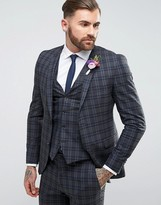 Jack and Jones Skinny Wedding Suit Jacket In Check
