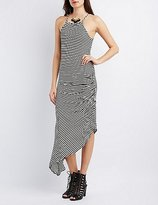 Charlotte Russe Ruched Asymmetrical Maxi Dress