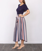 Egs By Eloges egs by eloges Women's Maxi Dresses NAVY - Navy & Pink Stripe Tie-Waist Short-Sleeve Midi Dress - Women & Plus