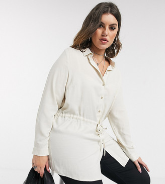 Only Curve longline shirt with waist tie in cream