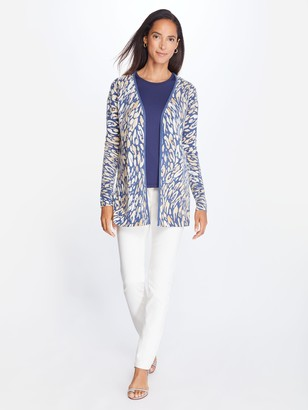 J.Mclaughlin Napa Cashmere Cardigan in Watercolor Panthera