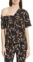 A.L.C. Josephine One Shoulder Print Silk Blouse
