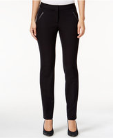 Alfani Petite Faux-Leather-Detail Pants, Only at Macy's