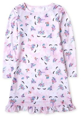 The Children's Place The Childrens Place Girls Long Sleeve Rainbow Unicorn Pajama Nightgown, Sizes 4-16