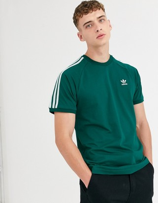 adidas 3 stripe t-shirt in green
