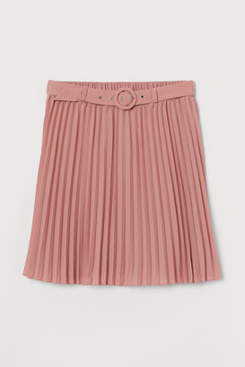 H&M Belted Pleated Skirt - Pink