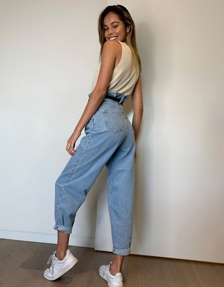 New Look paperbag slouchy mom jeans in blue