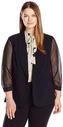 Nine West Women's Plus Size Crepe Jacket W/mesh Sleeves