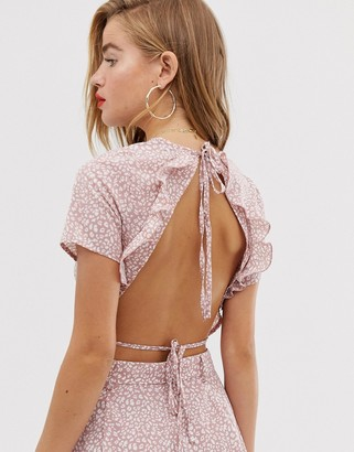 In The Style x Dani Dyer frilly open back crop top in pink leopard