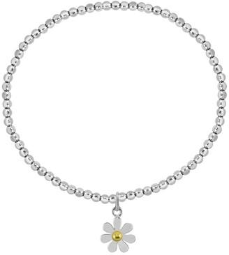 Aeravida Handmade Adorable Daisy Floral Charm on Sterling Silver Beaded Stretch Bracelet