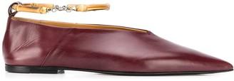 Jil Sander Bamboo Ankle-Strap Ballet Flats