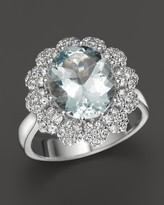 Bloomingdale's Aquamarine and Diamond Statement Ring in 14K White Gold