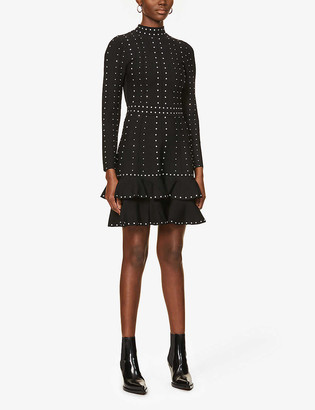 Sandro Rhinestone-embellished stretch-knit mini dress