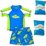 Jump N Splash Toddler Boy's Submerge TwoPiece Rashguard Set w/ Free Floaties (2T-3T) - 8143079