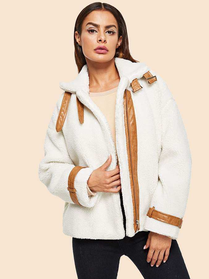 Shein Contrast Faux Leather Detail Teddy Jacket