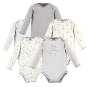 Touched by Nature Baby Girls and Boys Farm Friends Long-Sleeve Bodysuits, Pack of 5