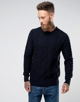 Barbour Barnard Cable Knit Crew Neck Jumper In Navy
