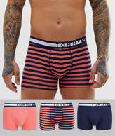 Tommy Hilfiger 3 pack trunks with contrast waistband in stripe/pink/navy