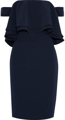 Badgley Mischka Off-the-shoulder Ruffled Stretch-ponte Dress