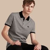 Burberry Fitted Cotton Polo Shirt With Tonal Trim