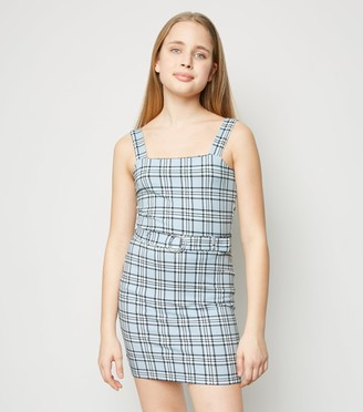New Look Girls Check Square Neck Top