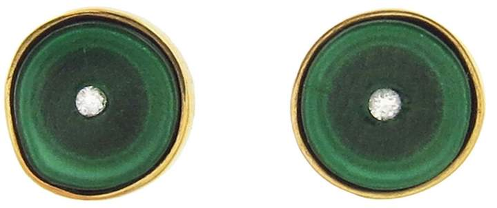 Andrea Fohrman One-Of-A-Kind Malachite and Diamond Stud Earrings
