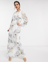 Ted Baker woodland lace trim maxi dress in ivory